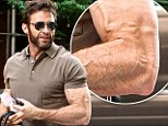 Looking vein: Hugh Jackman displays a map of veins in his buff arms while hailing a cab in NYC