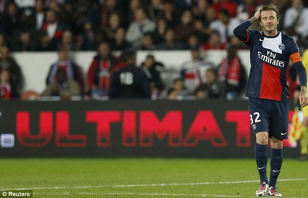 Success: Beckham's short time at PSG was a success, as his side won the Ligue 1 title
