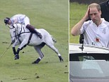 Lucky: Prince William narrowly escaped a nasty fall this afternoon whilst playing polo in the Audi Challenge at Chester Racecourse