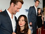 How's the weather up there? Alexander Skarsgard towers over tiny Ellen Page at Hollywood premiere of The East