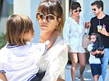 The cream of the crop! Kourtney Kardashian looks chic in lace as she goes to lunch with Scott Disick and son Mason