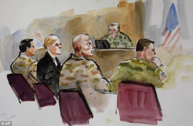 A courtroom sketch of Staff Sgt. Robert Bales, third from left, during a preliminary hearing in a military courtroom at Joint Base Lewis McChord in Washington state