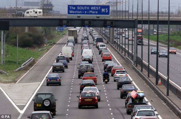 Wrong way: The woman drove north on the southbound carriage of the M5 near Weston-super-Mare (file photo)