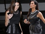 Anything Kim can do, I can do! Kendall Jenner copies her sister¿s leather peplum look for a night out at the movies
