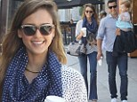 A matching pair! Jessica Alba and husband Cash Warren don complimentary outfits for outing in Los Angeles with daughter Haven