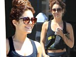 The Spring Breakers star looked fit in the sporty get-up, which she teamed with trendy black high-top trainers.