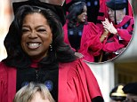 Oprah Winfrey is in a joyful mood as she high fives the Boston mayor right before giving address to Harvard's graduating class