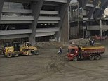 Work in progress: The Maracana stadium on Monday