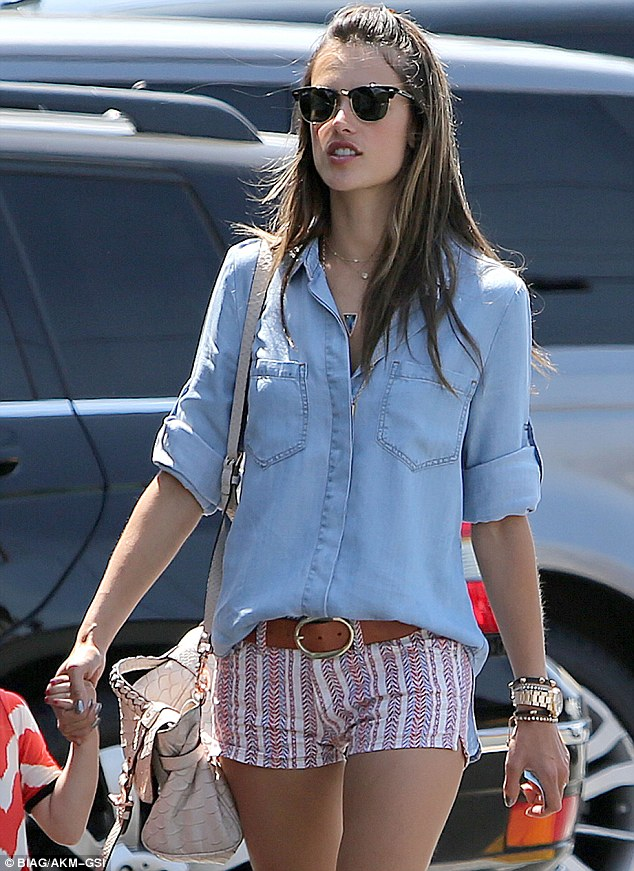 Thighly impressive: Alessandra attracted even more attention than usual due to her hotpants
