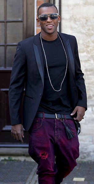 Key guests: JLS' Oritse and Aston were happy to send their best pal on his way to married life