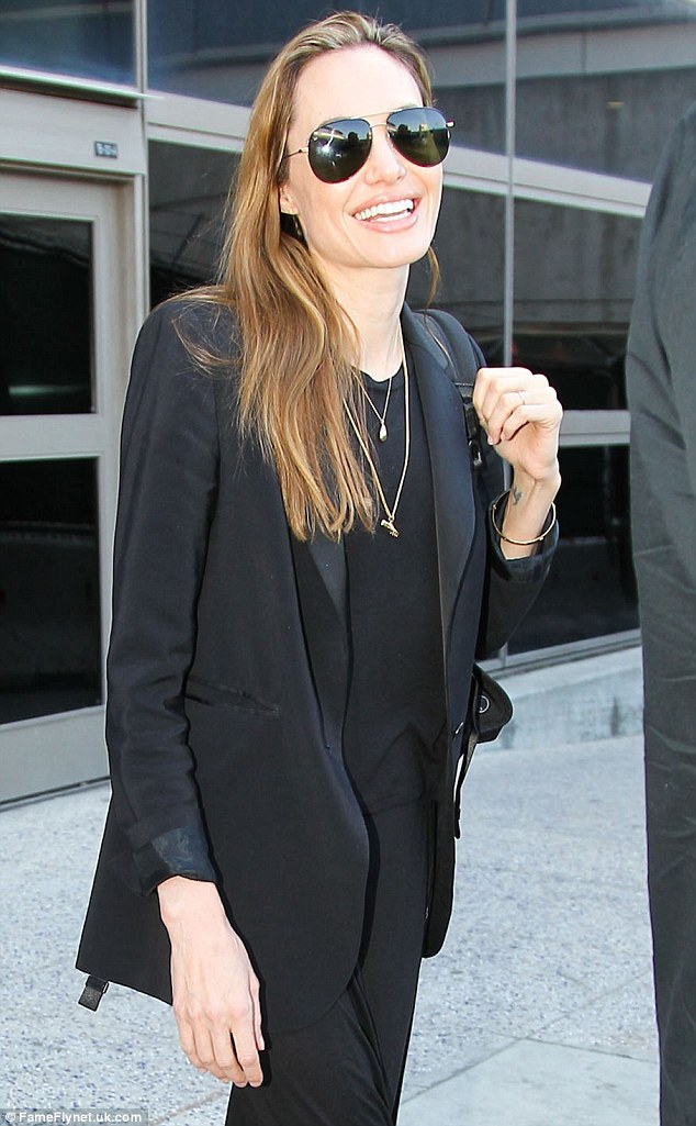 No interviews: Angelina, shown in March at Los Angeles International Airport, has declined to give any interviews for the time being
