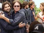 Bonding: Brody Jenner, left, and Bruce Jenner, right, teamed up to promote their upcoming season of Keeping Up With The Kardashians with Extra's Maria Menounos at The Grove in Los Angeles, California on Thursday
