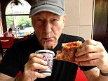 Was it worth the wait? Patrick Stewart has enjoyed his first ever slice of pizza, at the ripe old age of 72