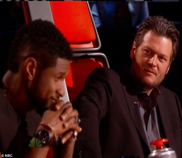 Bromance: Usher and Blake Shelton were seen dancing together during a breka in the show