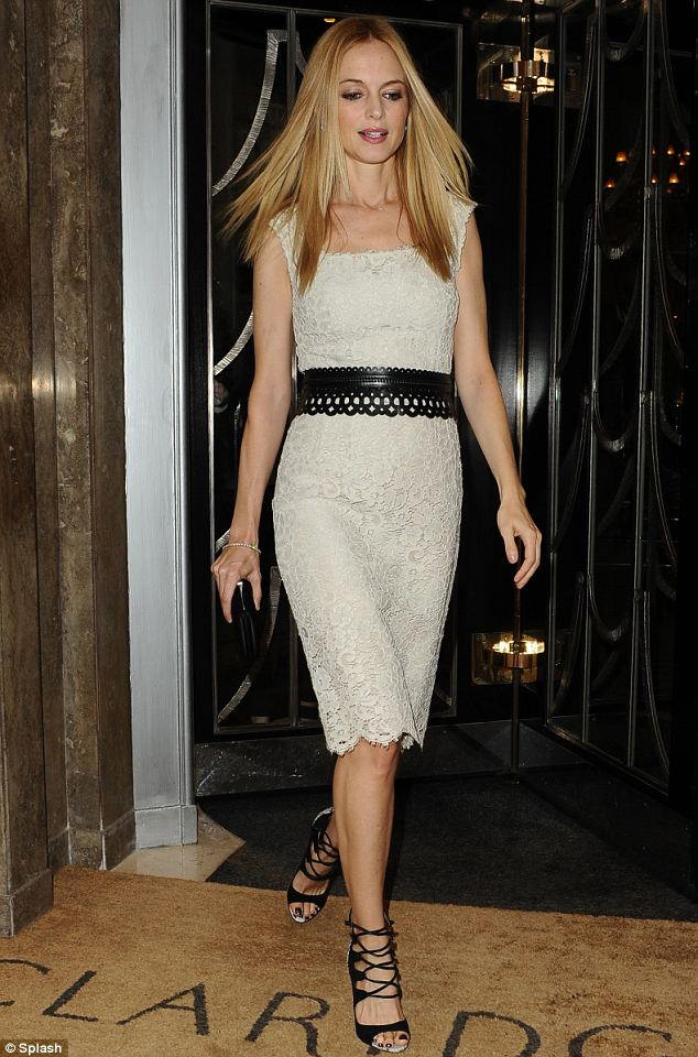 Slinky: Heather Graham looked stunning when she left her London hotel on Friday evening