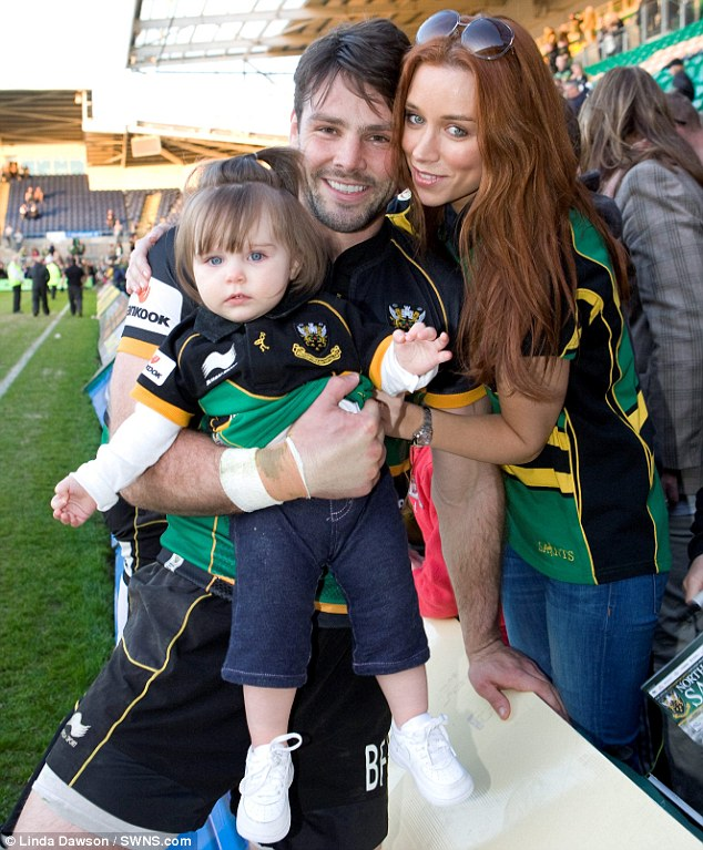 Picture perfect: Una Healy and baby daughter Aoife Belle were on hand to cheer on Ben Foden as his team the Northampton Saints took on the Sale Sharks on Saturday afternoon
