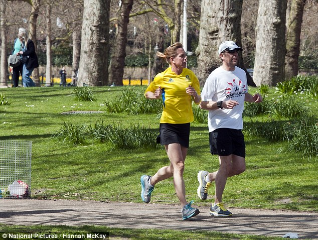 Spring run: Two joggers in St James's Park today