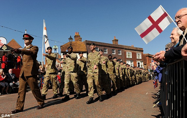 St George's celebrations: Soldiers from 12 and 47 Regiment of the Royal Artillery, march through St Peter's Square in Emsworth today