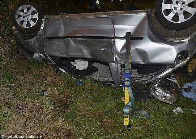 New driver: Salah-Eldin had passed his test just two months before he caused the crash. His wrecked Vauxhall Corsa is pictured following the incident