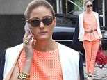 Orange appeal: Olivia Palermo appeared stylish and classy in her tangerine ensemble as she stepped out in Brooklyn, New York on Thursday