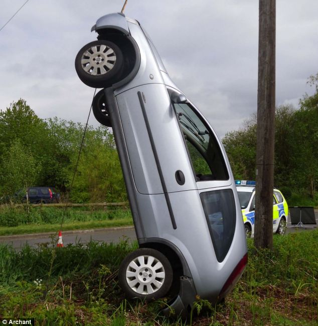Miracle: The driver and his four passengers clambered away unhurt from the smash