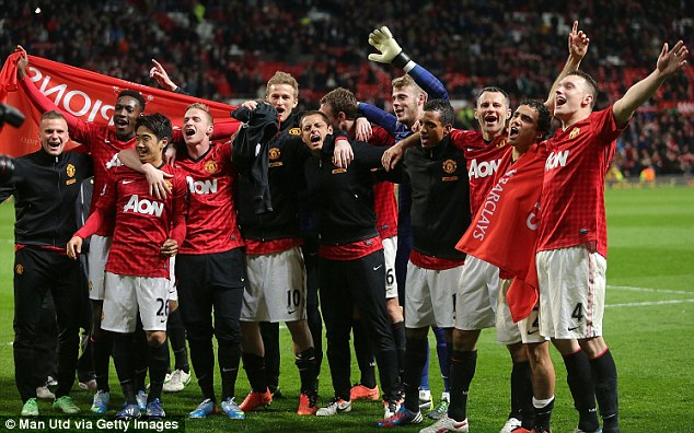 Here we go: Manchester United celebrated their 20th Premier League win on Monday