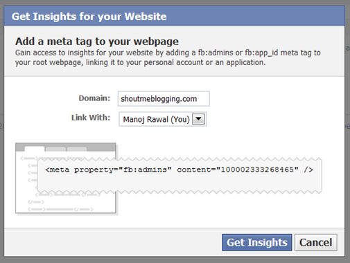 facebook insight1 How to Configure Facebook Insights For your WordPress Blog