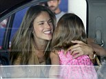 So happy to be back together: Alessandra Ambrosio was delighted to be reunited with daughter Anja at LAX after flying home from London on Thursday