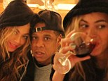 Cheers to us! Beyonce posts picture from boozy date night with husband Jay-Z... and puts an end to pregnancy rumours