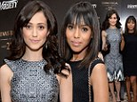 Did they plan it that way? Emmy Rossum and Kerry Washington are well-matched in modern frocks as they attend event