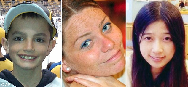 Victims: From left, Martin Richards, eight, Krystal Campbell, 29, and Lu Lingxi, 23, were the three people killed in the explosions which tore through spectators at the Boston Marathon last Monday