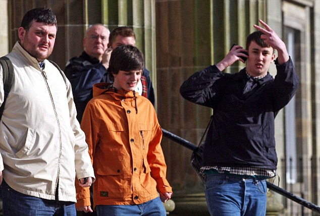 Walking free: (left to right) Shaun Murray, Liam Fullerton, and Jamie Gilchrist must do community service