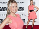 Pretty in pastels! Holly Madison shows off her trim post-baby figure in coral frock to attend Las Vegas show opening