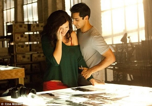 Serious role: Kate, who is playing a more serious role as denoted by her brown hair, with Riz Ahmed in the movie
