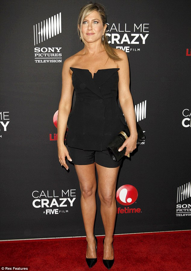 Too busy: At the red carpet premiere of her new movie Call Me Crazy, Jennifer Aniston revealed that she has not had enough time to pick out her wedding dress for her upcoming nuptials with Justin Theroux