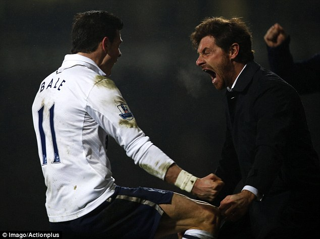 Glory days: Andre Villas-Boas (right) celebrates with Gareth Bale following the Welshman's late winner at West Ham