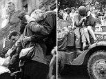 Amer. soldier kissing a French jeune fille as they embrace on the hood of a half-track. (Photo by Ralph Morse//Time Life Pictures/Getty Images)