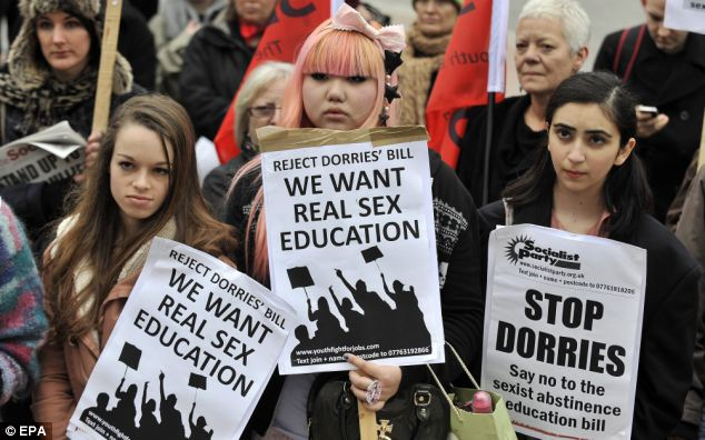 Looking for guidance: A lack of real sex education is leaving young women vulnerable and open to abuse, according to Liz Jones. Members of womens' rights groups (pictured) have been lobbying for better advice in schools