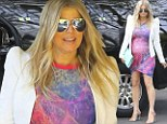 There's a scene stealer! Fergie parades her pregnancy bump in artsy frock to attend pal Heidi Klum's 40th birthday bash