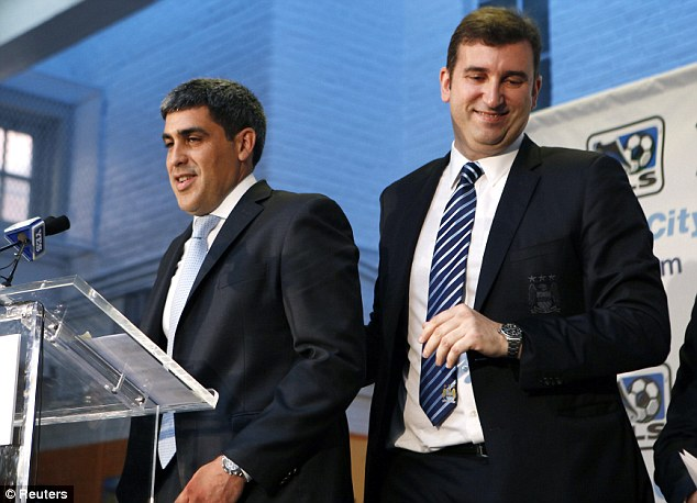 Vision: City chief executive Ferran Soriano (right) with former City midfielder and NYCFC director of football Claudio Reyna