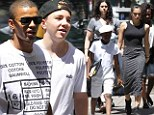 Stepping up: Madonna's boyfriend Brahim Zaibat took her daughter Lourdes and sons Rocco and David Banda to Kabbalah services in New York City on Saturday