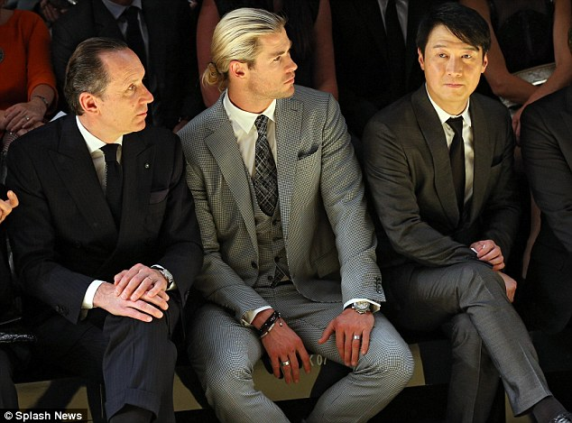 Fashion fan: Hemsworth on Tuesday attended the Ermenegildo Zegna Wool Trophy and fashion show held in Sydney, Australia, with Paolo Ermenegildo and Hong Kong actor Leon Lai
