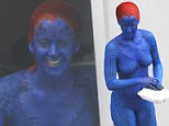 Hungry work! Jennifer Lawrence tucks in while wearing full Mystique body paint on set of X-Men: Days Of Future Past