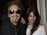 Proud: Lucila Sola looked proud of Al Pacino as she left a casino with him following his event earlier on Sunday evening