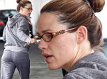 Even A-listers have bad skin days! Jennifer Garner reveals several spots on her cheek as she steps out in a baggy grey tracksuit