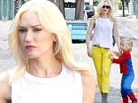 Cool as cartoon characters! Gwen Stefani rocks yellow pants as she takes her costumed boys to a friend's birthday party