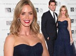 Former stutterer Emily Blunt pays homage to the 1950s in navy mermaid gown as she emcees Freeing Voices benefit gala