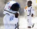 Louis Bullock dressed up as an astronaut for a photo shoot in the desert around Palmdale, California