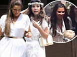 The big day is here! Khloe and Kourtney Kardashian are angelic in white as they join sister Kim at her star-studded baby shower