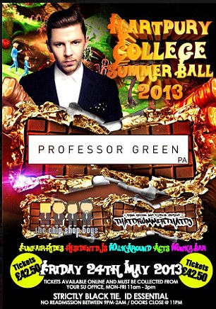 Disappointment: Professor Green was due to appear at Hartpury College Summer Ball